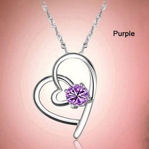 Jewelry - Amethyst Crystal Open Silver Heart Necklace